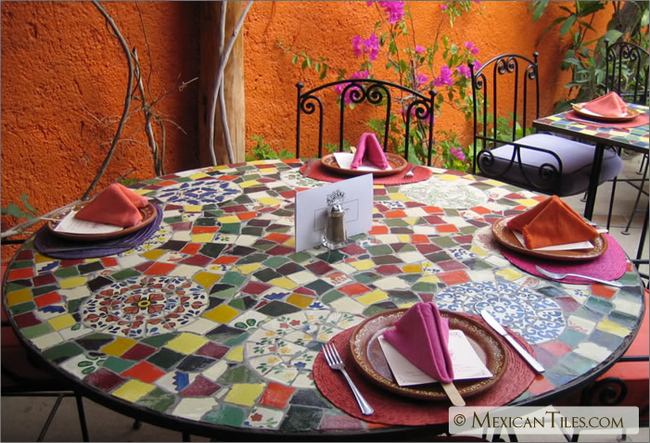 Wonderful Table Top Mosaic Work With Broken Mexican Talavera Tile