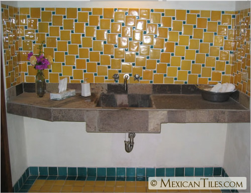 MexicanTiles.com - Gold Yellow Tile in Bath Backsplash