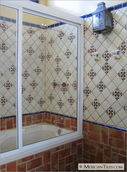 MexicanTilescom Bathroom Shower Wall With Seville