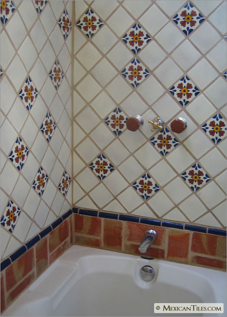 Bathroom Shower Wall And Tub With Seville Talavera Mexican Tile