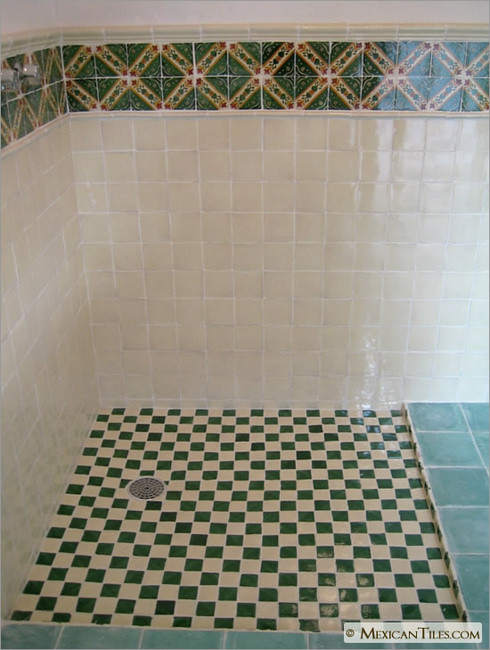 mexicantiles com bathroom wall with zihuatanejo mexican talavera tile rh mexicantiles com mexican tile bathroom images mexican tile bathroom sinks and vanities