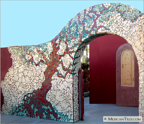 Wall Mosaic Designs : ... .com - Exterior Fence Wall with Broken Mosaic Mexican Talavera Tiles