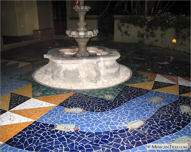 Exterior Fountain With Broken Solid Mexican Talavera Floor Tile