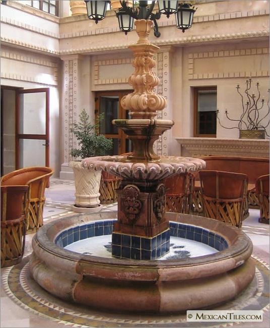 Mexicantiles Com Exterior Fountain With Cobalt Blue