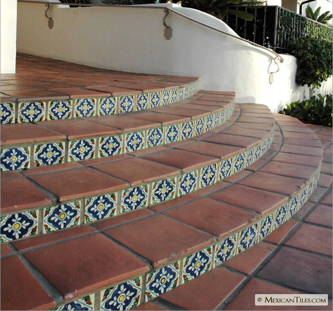 Mexicantiles Com Stairs With Mexican Terracotta Floor Tile