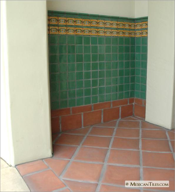 Exterior wall with flor de liz amarilla border mexican talavera tile - Bathroom tiles talavera ...