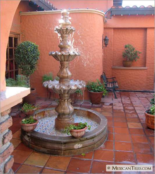 Floor mission saltillo mexican flooring for Spanish style fountains for sale