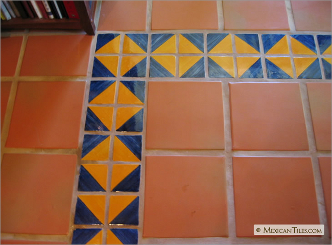 Mexicantiles Com Floors With Blue And Yellow Harlequin