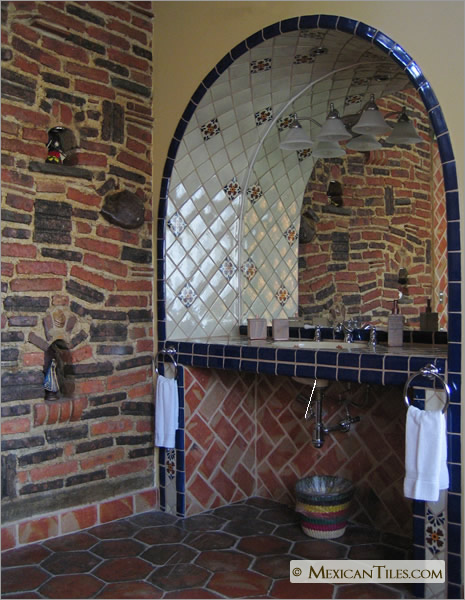 Interior bathroom with seville accent in arch and blue counter top mexican - Bathroom tiles talavera ...