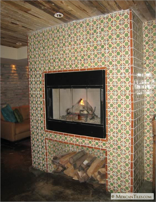 Fireplace With Chapala Mexican Talavera Tile
