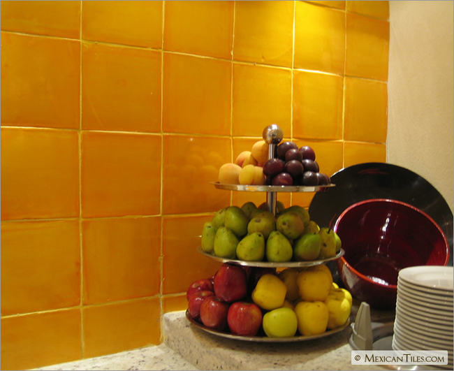Kitchen Backsplash Yellow mexicantiles - kitchen backsplash with gold yellow mexican