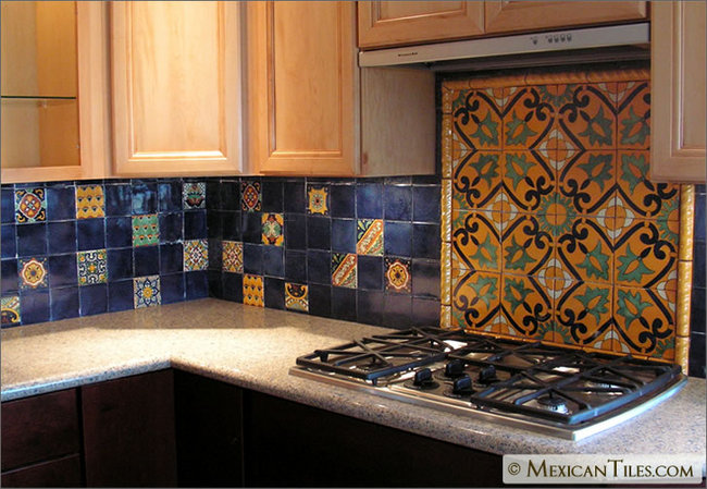 Kitchen Backsplash with Decorative Mural Using Angeles Talavera Mexican Tile