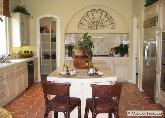 Kitchen With Hexagon Spanish Mission Red Mexican Talavera Flooring Tile