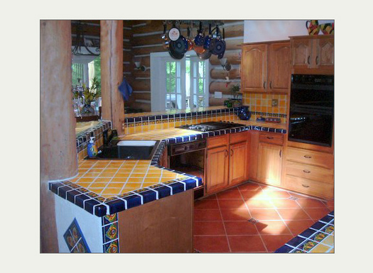 MexicanTiles.com - Mexican Talavera Tile in Kitchen Island