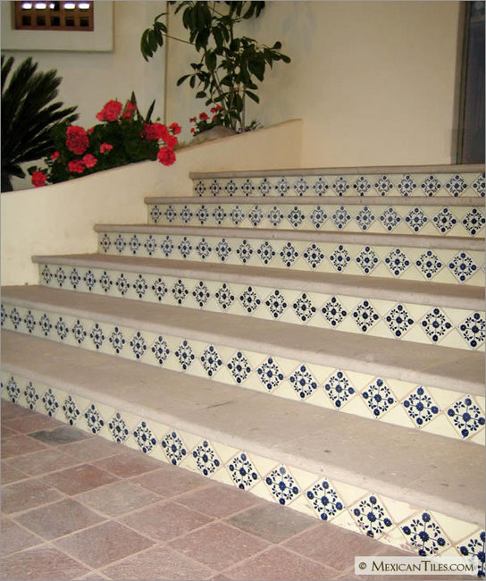 Mexicantiles Com Stairs With Blue Marguerite Talavera
