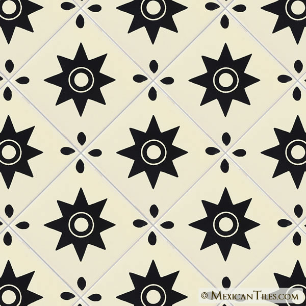 Mexican Tile Black Star Mexican Tile - Black and white talavera tile