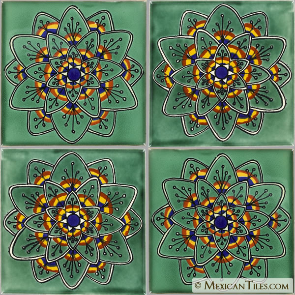 Mexican Tile Green Peacock Flower Mexican Tile