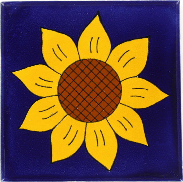 X Out Reviews >> Mexican Tile - Sunflower 1 Talavera Mexican Tile