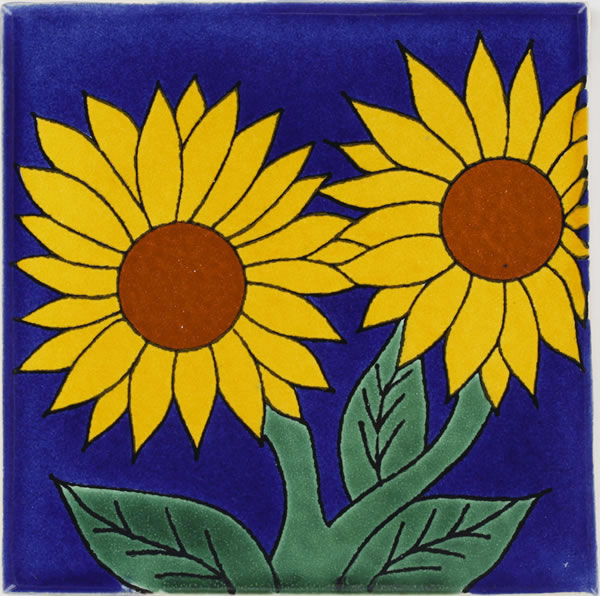 Sunflower 5 - Handcrafted Mexican Talavera Flower Tile