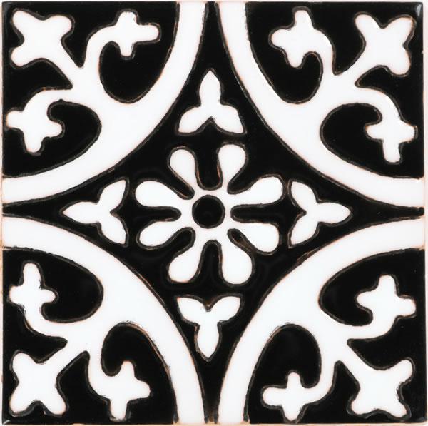Mexican Tile La Quinta Black Amp White 1 Gloss Malibu