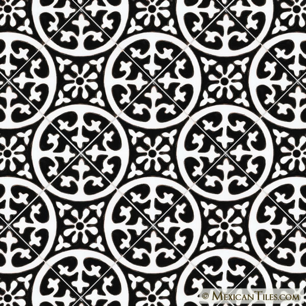 Mexican Tile La Quinta Black White Gloss Malibu Ceramic Tile - Black and white talavera tile