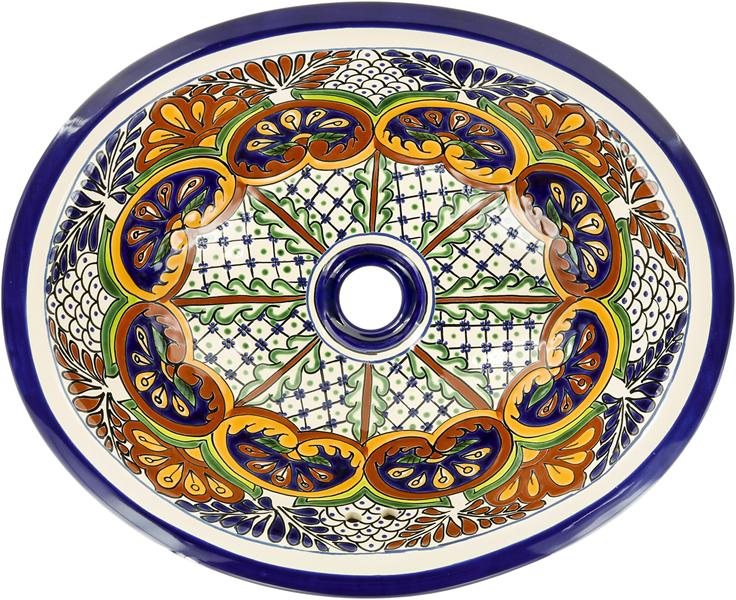 Puebla - Mexican Talavera Oval Drop- in Sink