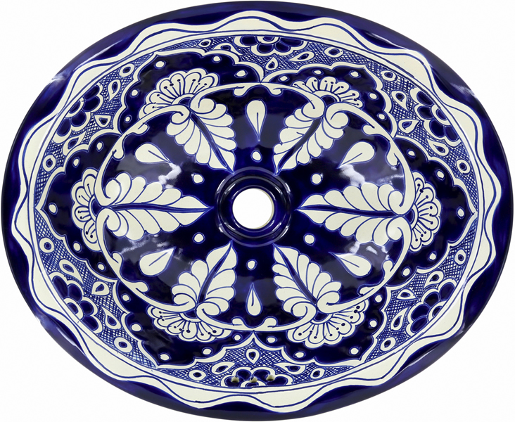 . Mexican Tile   Mexican Talavera Sink   Blue Lace