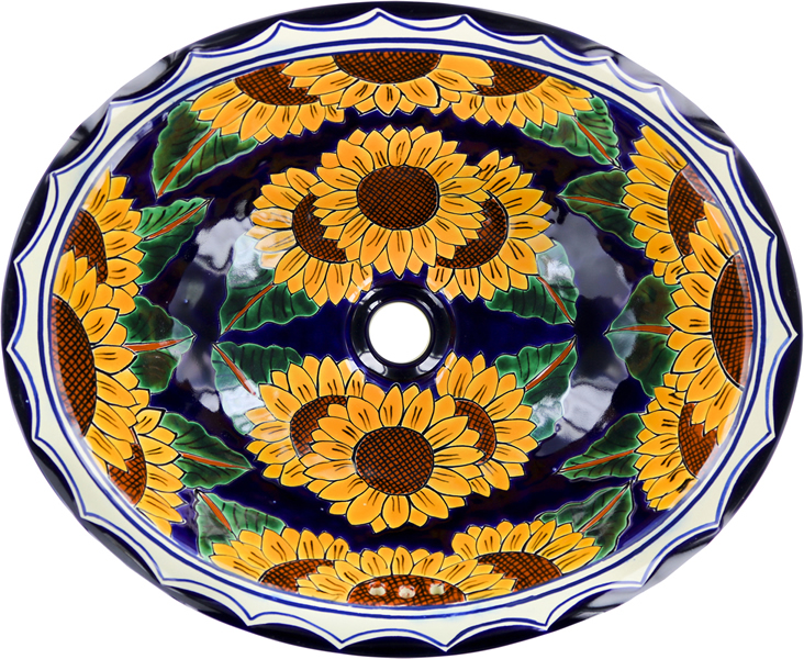 Mexican Tile Mexican Talavera Sink Sunflowers
