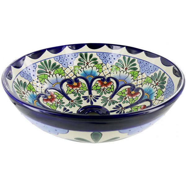 Turquoise Peacock Ceramic Hand Painted Mexican Talavera Sink