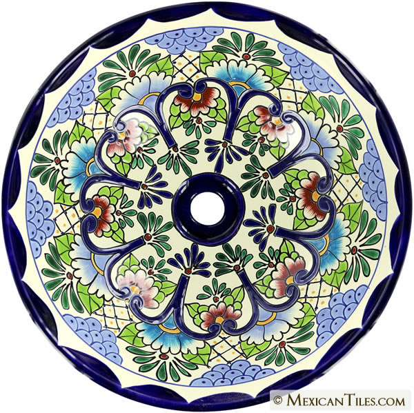 Mexican Tile Tabasco Round Vessel Above The Counter Bathroom Mexican Talavera Lavatory Sink