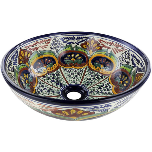 Mexican Tile Puebla Round Vessel Above The Counter Bathroom Mexican Talavera Lavatory Sink