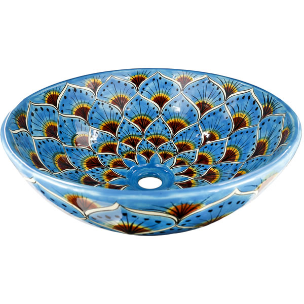Turquoise Peacock - Ceramic Hand painted Mexican Talavera Sink