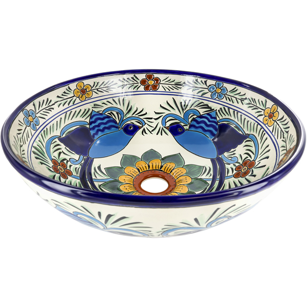 Hummingbirds - Ceramic Handcrafted Mexican Talavera Sink