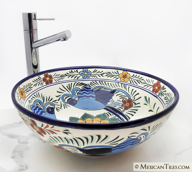 Mexican Tile Hummingbirds Round Vessel Above The Counter Bathroom Mexican Talavera Lavatory Sink
