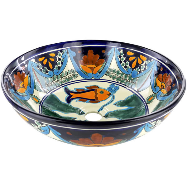 Mexican Tile Acapulco Round Vessel Above The Counter Bathroom Mexican Talavera Lavatory Sink