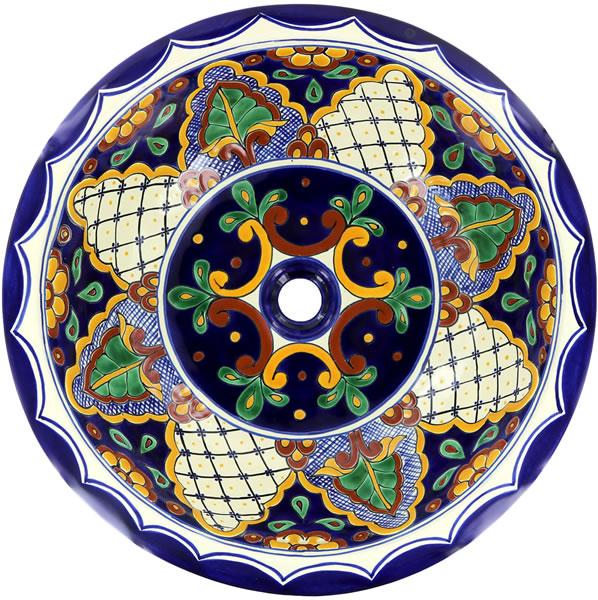 Ceramic Handcrafted Mexican Talavera Sink - San Miguel