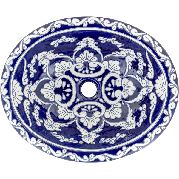 Mexican Tile La Parada On Pure White Mexican Hacienda Drop In Bathroom Sink