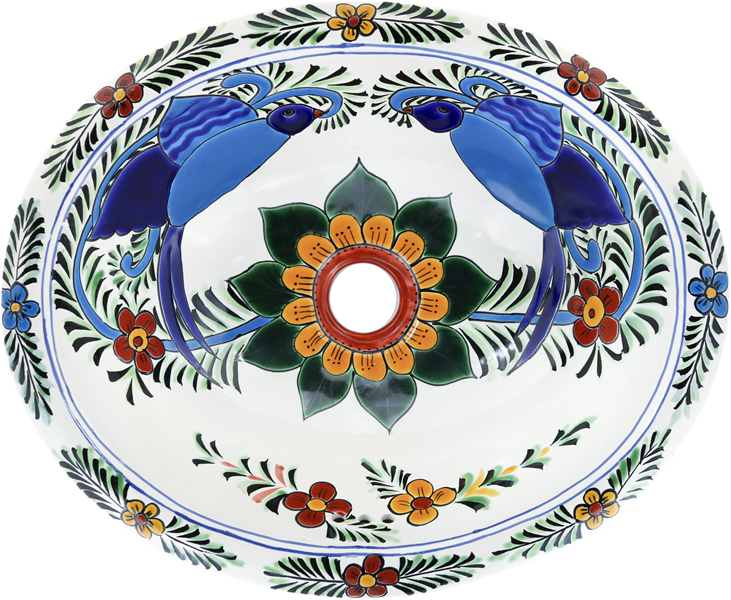Mexican Tile Mexican Talavera Sink Hummingbird On Pure White