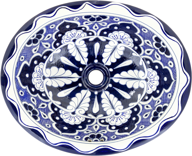 Mexican Tile Mexican Talavera Sink Blue Lace On Pure White