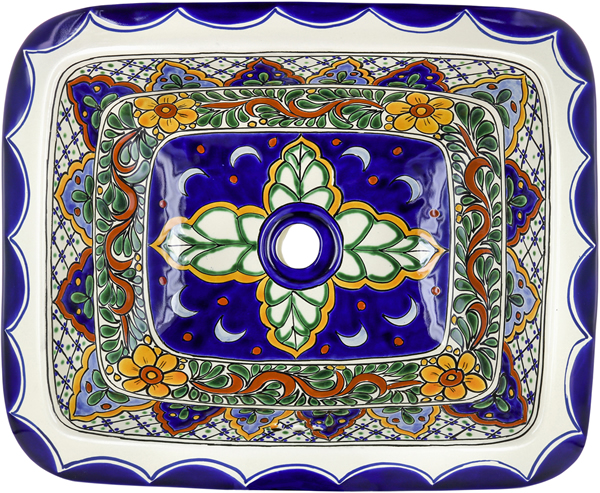 Ceramic Hand painted Mexican Talavera Sink - Sardinia