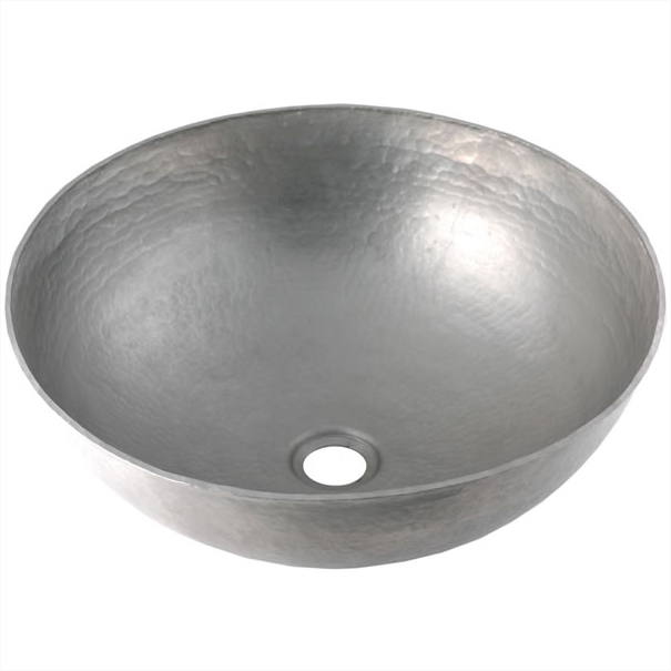 Mexican Tile     ON SALE   Round Vessel Copper Bathroom Sink   Brushed  Nickel Finish