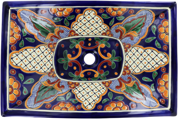 Hand Painted Rectangular Vessel Above Counter Mexican Talavera Bathroom Sink