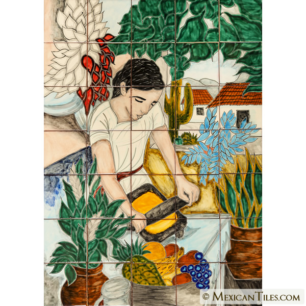 Mexican Tile Grinding Woman Handpainted Mexican Ceramic