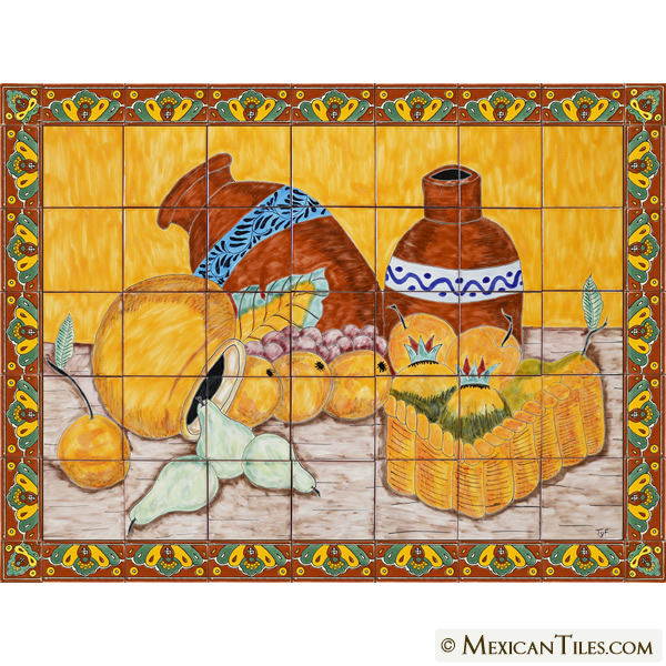 Mexican tile cantaros y frutas handpainted mexican for Ceramic mural making