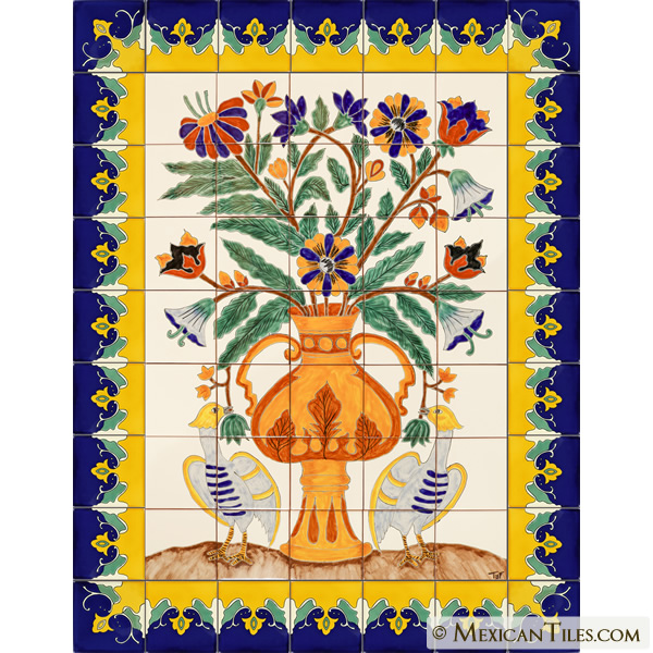 Mexican tile ave fenix handpainted mexican talavera for Decorative tile mural
