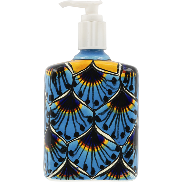 Mexican Tile Turquoise Peacock Lotion Soap Dispenser