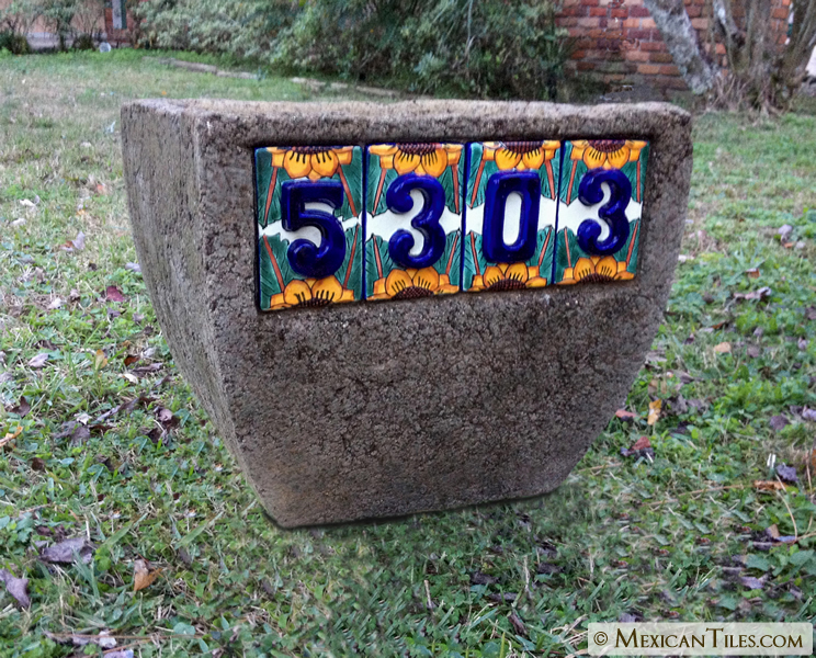 Mexican Tile - 3-D Sunflower Tile Number