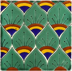 Mexican Tile Green Peacock Feathers Mexican Tile - Discount mexican tile