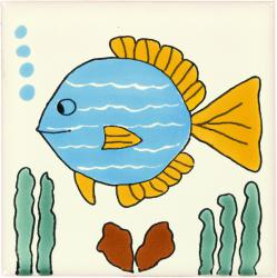 Turquoise Fish - Handcrafted Mexican Talavera Animal Tiles