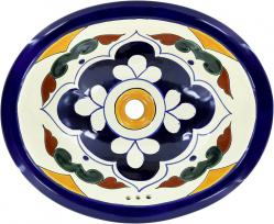Guadalajara - Handcrafted Talavera Mexican Oval Drop -in Sink